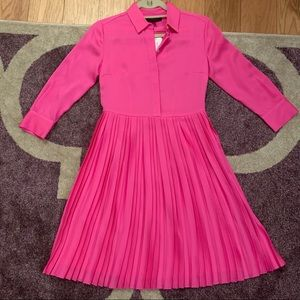 Banana Republic Hot Pink Pleated Shirt Dress